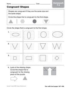 Congruent Shapes Homework 7.3 Worksheet
