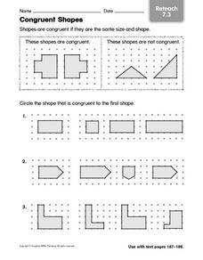 congruent shapes reteach 7 3 kindergarten 1st grade worksheet lesson planet. Black Bedroom Furniture Sets. Home Design Ideas