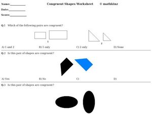 Congruent Shapes Worksheet Worksheet