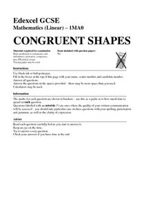 Congruent Shapes Worksheet