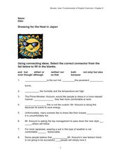 Conjunctions: Dressing for the Heat in Japan Worksheet