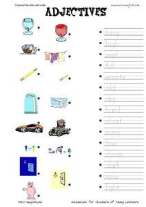 Connect the Dots and Write: Adjectives Worksheet