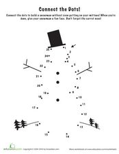 Connect the Dots: Snowman Worksheet