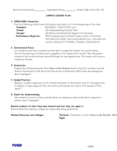 Connect to the Text  Lesson Plan
