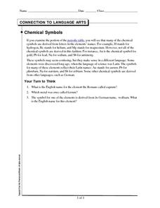 Connection to Language Arts-Chemical Symbols Worksheet