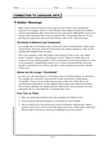 Connection to Language Arts-Hidden Meanings Worksheet
