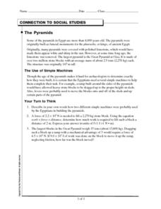 Connection to Social Studies-The Pyramids Worksheet