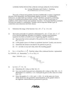 Connections Involving Linear And Quadratic Functions Lesson Plan