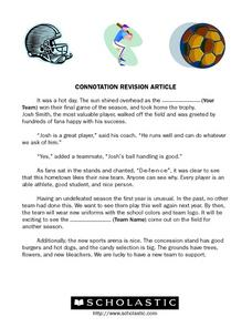 Connotation Revision Article Worksheet