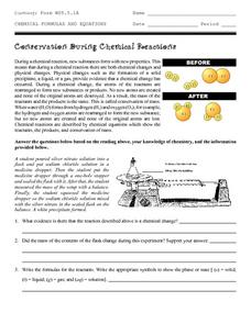 Conservation During Chemical Reactions Worksheet