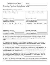Conservation of Mass-Balancing Equations Study Guide Worksheet