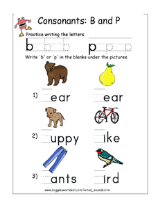 Consonants: B and P Worksheet