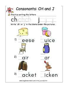 Consonants - ch and j Worksheet