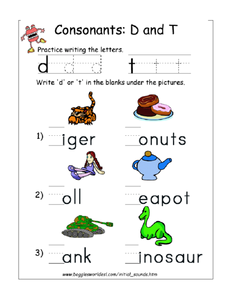 Consonants: D and T Worksheet