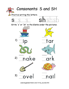 Consonants: S and Sh Worksheet