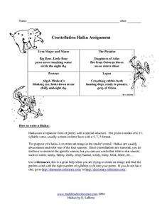Constellation Haiku Assignment Worksheet