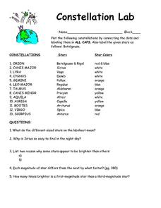 Printables Constellation Worksheets constellation lab 7th 9th grade worksheet lesson planet worksheet