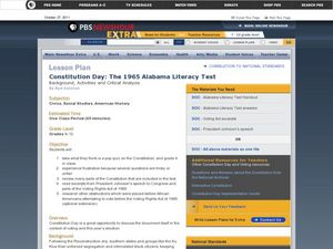 Constitution Day:  The 1965 Alabama Literacy Test Lesson Plan