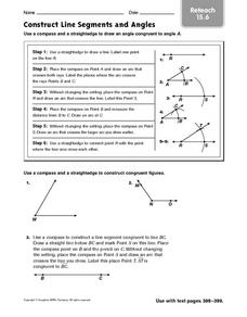 Construct Line Segments and Angles: Reteach Worksheet