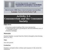 Consumerism and the Consumer Society Lesson Plan