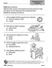 Context Clues: Grades 2 and 3 Worksheet