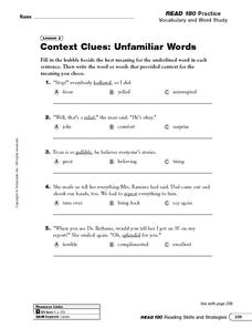 Context Clues: Unfamiliar Words Worksheet