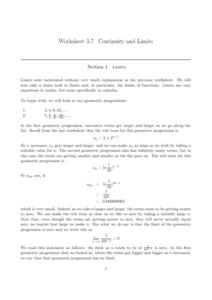 Continuity and Limits Worksheet