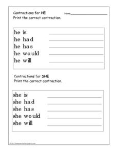 "Contractions for ""He"" and ""She"" Worksheet"