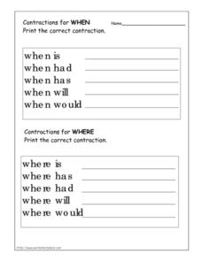 "Contractions for ""When"" and ""Where"" Worksheet"