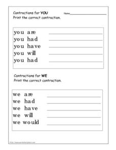 Contractions for You and We Worksheet