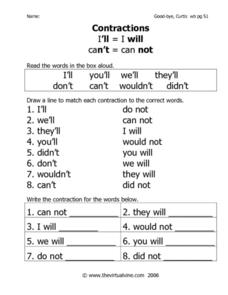 Contractions: I'll and Can't Worksheet