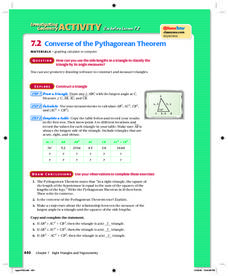 Converse of the Pythagorean Theorem Lesson Plan