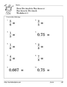 Grade 5 Fractions vs Decimals Worksheets - free