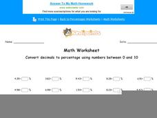 Convert Decimals to Percentage Using Numbers Between 0 and 10: part 6 Worksheet