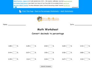Convert Decimals to Percentage Worksheet
