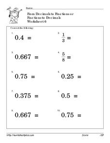 Printables Converting Decimals To Fractions Worksheet convert fractions and decimals 6 4th 6th grade worksheet worksheet