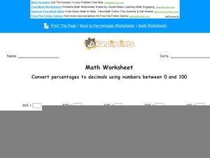 Convert Percentages to Decimals Using Numbers Between 0 and 100 Worksheet