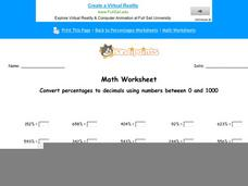 Convert Percentages to Decimals Worksheet