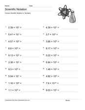 Convert Scientific Notation to Numbers 4 Worksheet
