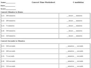 Convert Time Worksheet