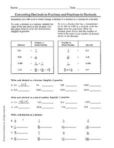 Converting Decimals to Fractions and Fractions to Decimals Worksheet