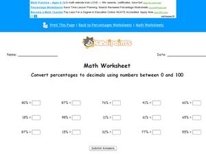 Converting Percentages to Decimals: 1-100 Worksheet