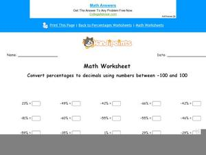 Converting Percentages to Decimals Worksheet