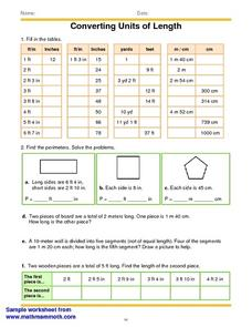 Converting Units Of Length Worksheet