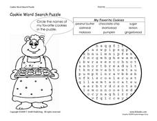 Cookie Word Search Puzzle Worksheet