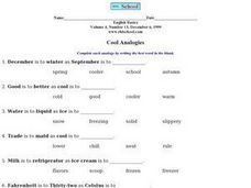 Cool Analogies Worksheet