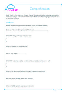 Cool It! Comprehension Worksheet