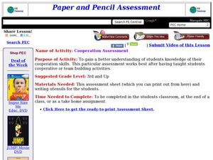 Cooperation Assessment Lesson Plan