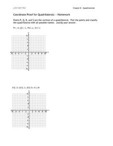 Coordinate Proof for Quadrilaterals Worksheet