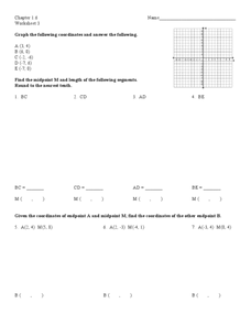Coordinates on a Plane Worksheet